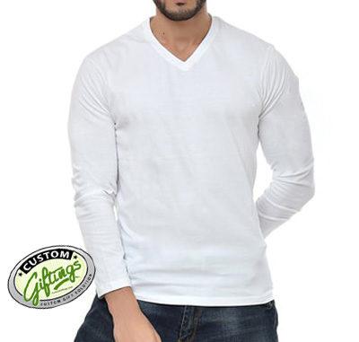 White-V-neck-T-shirt-Full-s