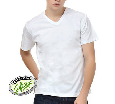 White-V-neck-T-shirt-front