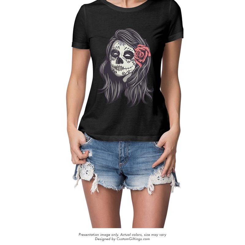 Female Skull - custom printed T-Shirt White & Black for Women