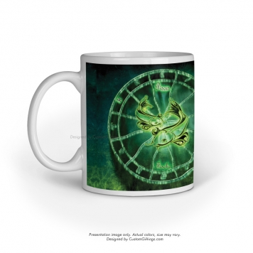 White Mug Left Side Handle Front View pisces zodiac sign design